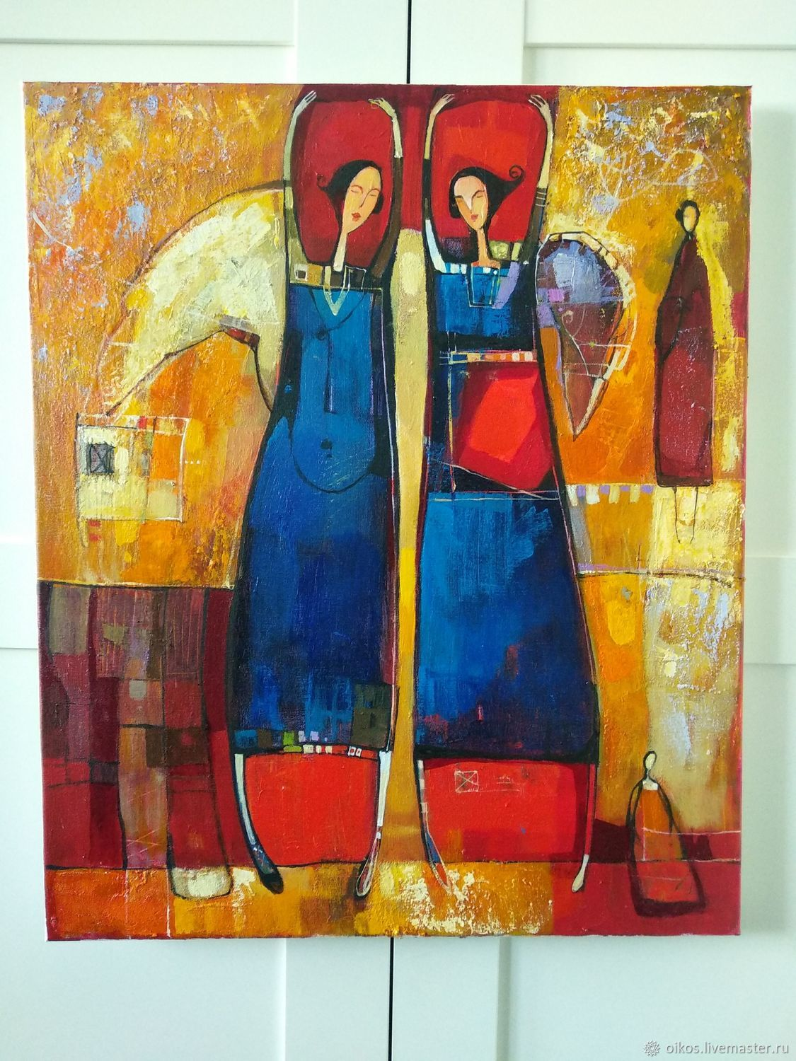 painting acrylic 50h60 cm orange tint with the angels shop online rh livemaster com
