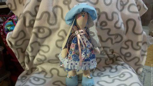 Куклы Тильды ручной работы. Ярмарка Мастеров - ручная работа. Купить заяц тильда. Handmade. Синий, зайка девочка