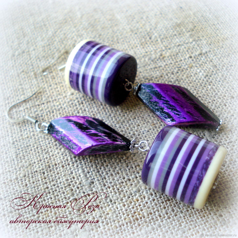 Asymmetric earrings ' Purple cylinders', Earrings, Stupino,  Фото №1
