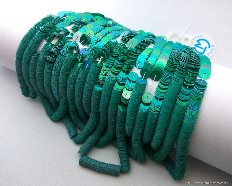 Needlework handmade. Livemaster - handmade. Buy French sequins 5 mm Oriental 5177.Green, fuchsia, luneville hook