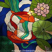 Для дома и интерьера ручной работы. Ярмарка Мастеров - ручная работа Витраж из цветного стекла техника тиффани Рыбы Кои. Handmade.