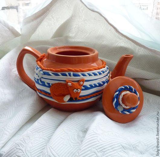 """Чайники, кофейники ручной работы. Ярмарка Мастеров - ручная работа. Купить Рыжий чайник """"чай с лисёнком"""". Handmade. Рыжий, чай"""