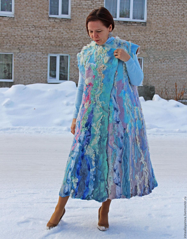 Felted coat 'the Cascade of tenderness' sleeveless, Coats, Verhneuralsk,  Фото №1