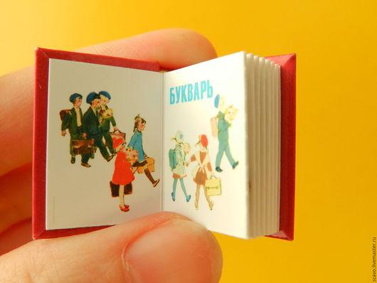 Кукольный дом ручной работы. Ярмарка Мастеров - ручная работа. Купить Букварь мини-книга. Handmade. Синий, миниатюрная книга