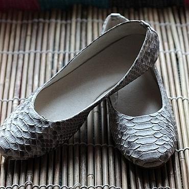 Обувь ручной работы. Ярмарка Мастеров - ручная работа Балетки из питона натурально-серые. Handmade.