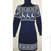 Одежда ручной работы. Ярмарка Мастеров - ручная работа Платье вязаное  с норвежским орнаментом Снежный олень (темно-синее). Handmade.
