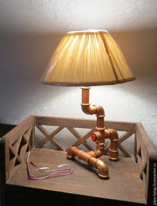 Освещение ручной работы. Ярмарка Мастеров - ручная работа. Купить Настольная лампа из труб Эпсилон. Handmade. Золотой, лофт, лампа
