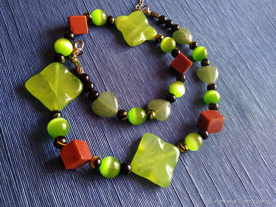 Onyx, Cat's eye and Aventurine 'Green meadow', Necklace, Moscow,  Фото №1