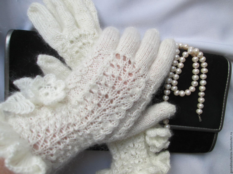 Gloves Wave white Angora, fishnet gloves, Gloves, Moscow,  Фото №1