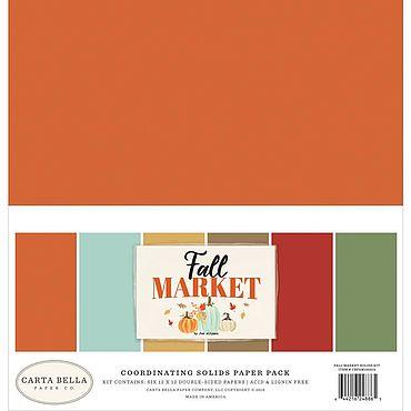 Материалы для творчества ручной работы. Ярмарка Мастеров - ручная работа Набор бумаги Carta Bella Double-Sided Solid Cardstock Fall Market. Handmade.