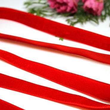 Материалы для творчества ручной работы. Ярмарка Мастеров - ручная работа Бархатная лента Mokuba 12 мм односторонняя красная. Handmade.