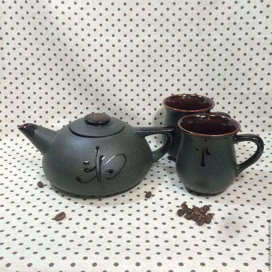 Сервизы, чайные пары ручной работы. Ярмарка Мастеров - ручная работа. Купить Набор: Чайник большой заварочный черный и 2 чашки.. Handmade.