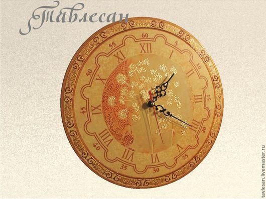 """Часы для дома ручной работы. Ярмарка Мастеров - ручная работа. Купить Часы настенные """"Весенние цветы"""" круглые. Handmade."""