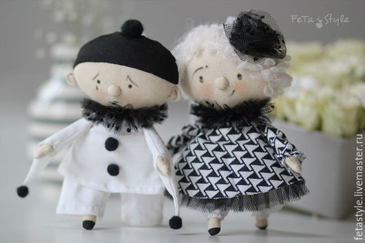 Человечки ручной работы. Ярмарка Мастеров - ручная работа. Купить Пьеро и Пьеретта Черно-белый Дель арте Куклы-подвески. Handmade.