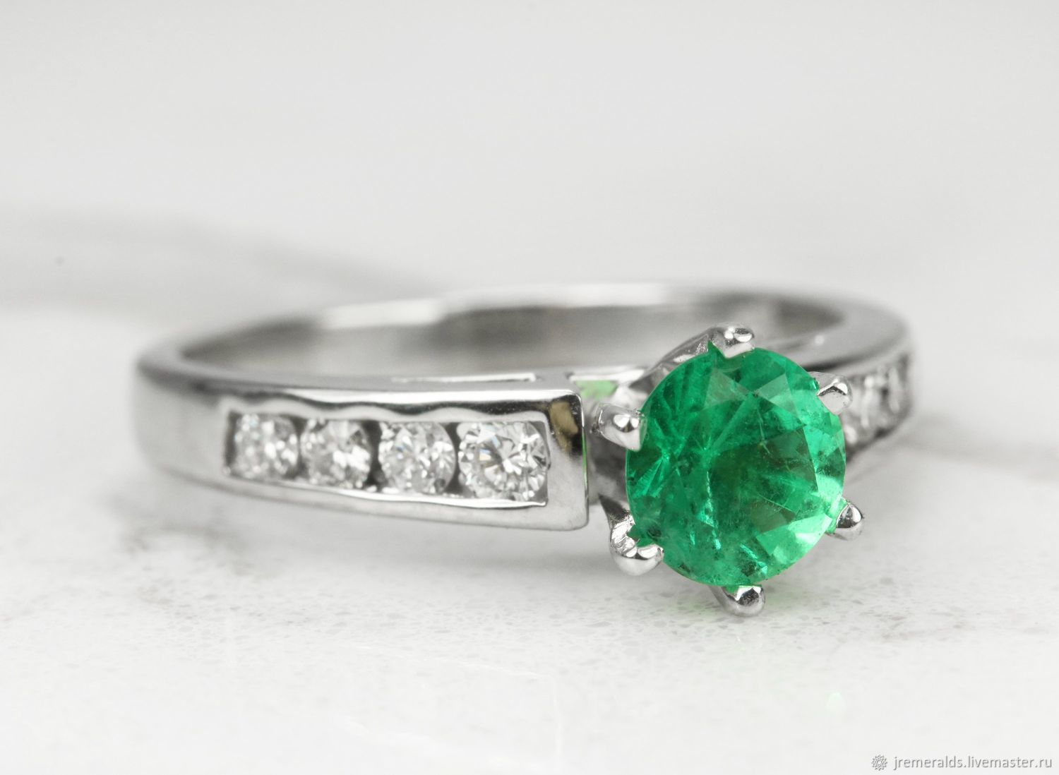 1.0tcw Colombian Emerald Engagement Ring,Emerald Diamond Accent Ring,M, Rings, West Palm Beach,  Фото №1