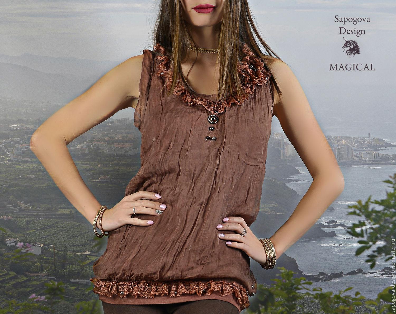 Шелковая блузка с кружевом купить