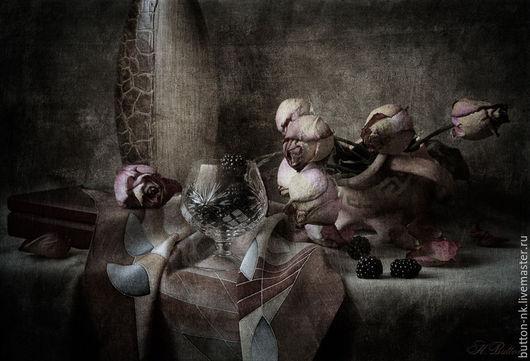 Фотокартины ручной работы. Ярмарка Мастеров - ручная работа. Купить Натюрморт Розы и ежевика. Handmade. Коричневый, бордовый, розы, ягоды