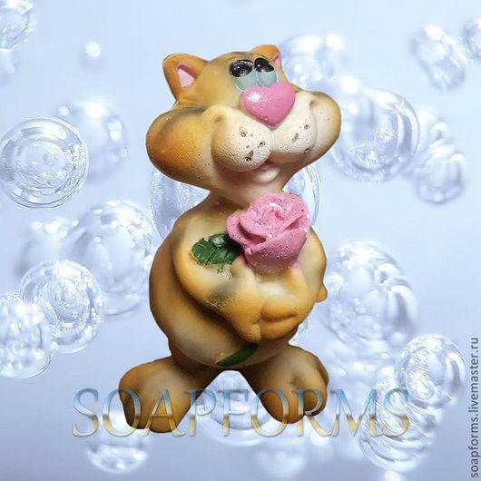 """Силиконовая форма для мыла """"Кот с розой"""""""