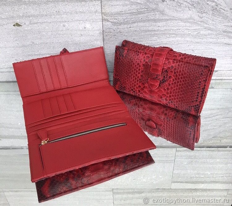 Red Dragon Python leather wallet, Wallets, Moscow,  Фото №1