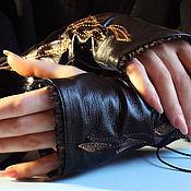Аксессуары handmade. Livemaster - original item Mitts of leather