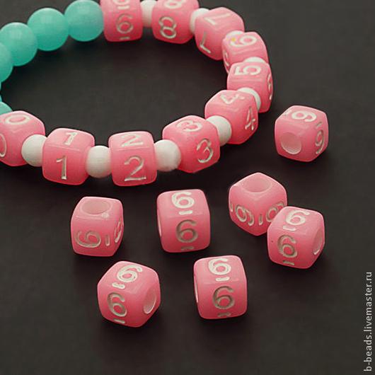 Для украшений ручной работы. Ярмарка Мастеров - ручная работа. Купить Бусины люминисцентные цифра 6 ( розовые ). Handmade.