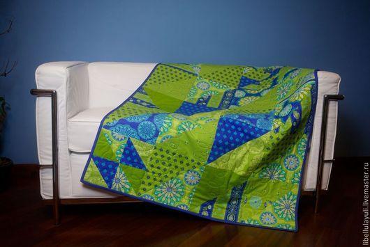 """Пледы и одеяла ручной работы. Ярмарка Мастеров - ручная работа. Купить """"Синий и зеленый"""" лоскутный плед. Handmade. Лоскутное одеяло"""