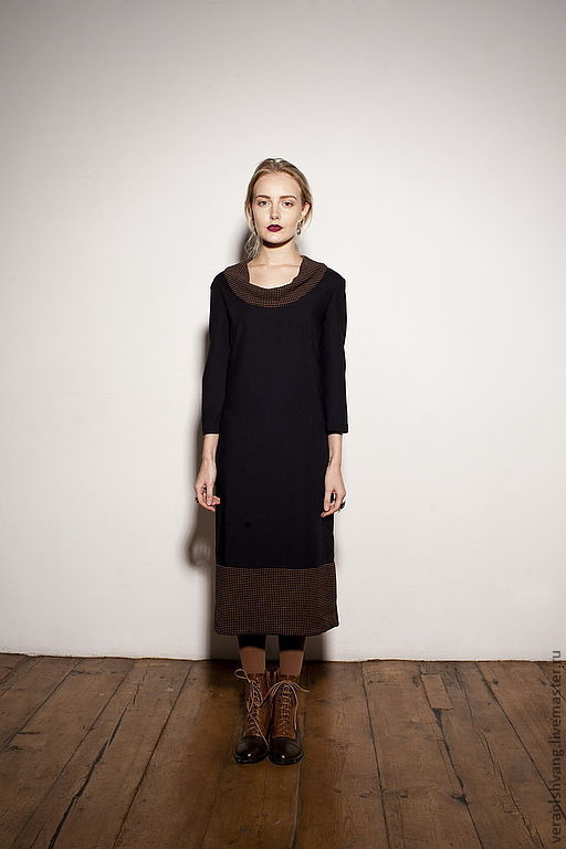 Платья ручной работы. Ярмарка Мастеров - ручная работа. Купить Шерстяное платье, чернильное с рыжим. Handmade. Черный, шерстяное платье