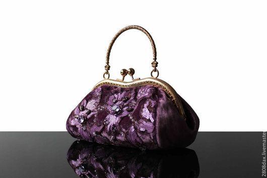 Женские сумки ручной работы. Ярмарка Мастеров - ручная работа. Купить Бархатная сумочка, сиреневый, кружево, вечерняя сумочка, Сваровски. Handmade.