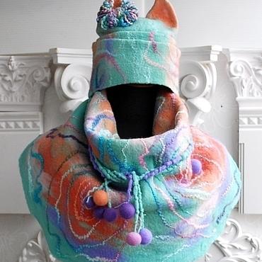 Аксессуары ручной работы. Ярмарка Мастеров - ручная работа Комплект шапка с ушками шарф-бактус и митенки Мятные. Handmade.