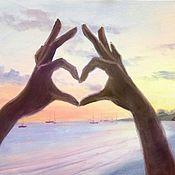 Подарки к праздникам ручной работы. Ярмарка Мастеров - ручная работа Картина маслом  для признания в любви с сердцем. Handmade.