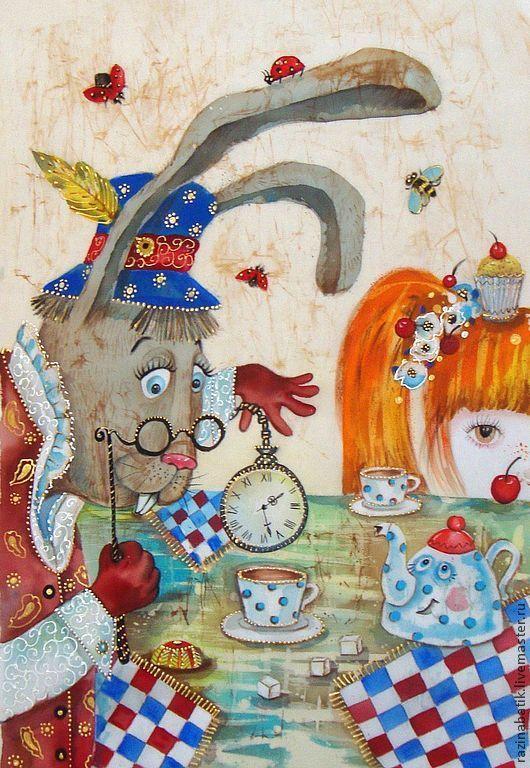 """Фантазийные сюжеты ручной работы. Ярмарка Мастеров - ручная работа. Купить Безумное чаепитие """"Мартовский заяц и Алиса""""( батик панно). Handmade."""