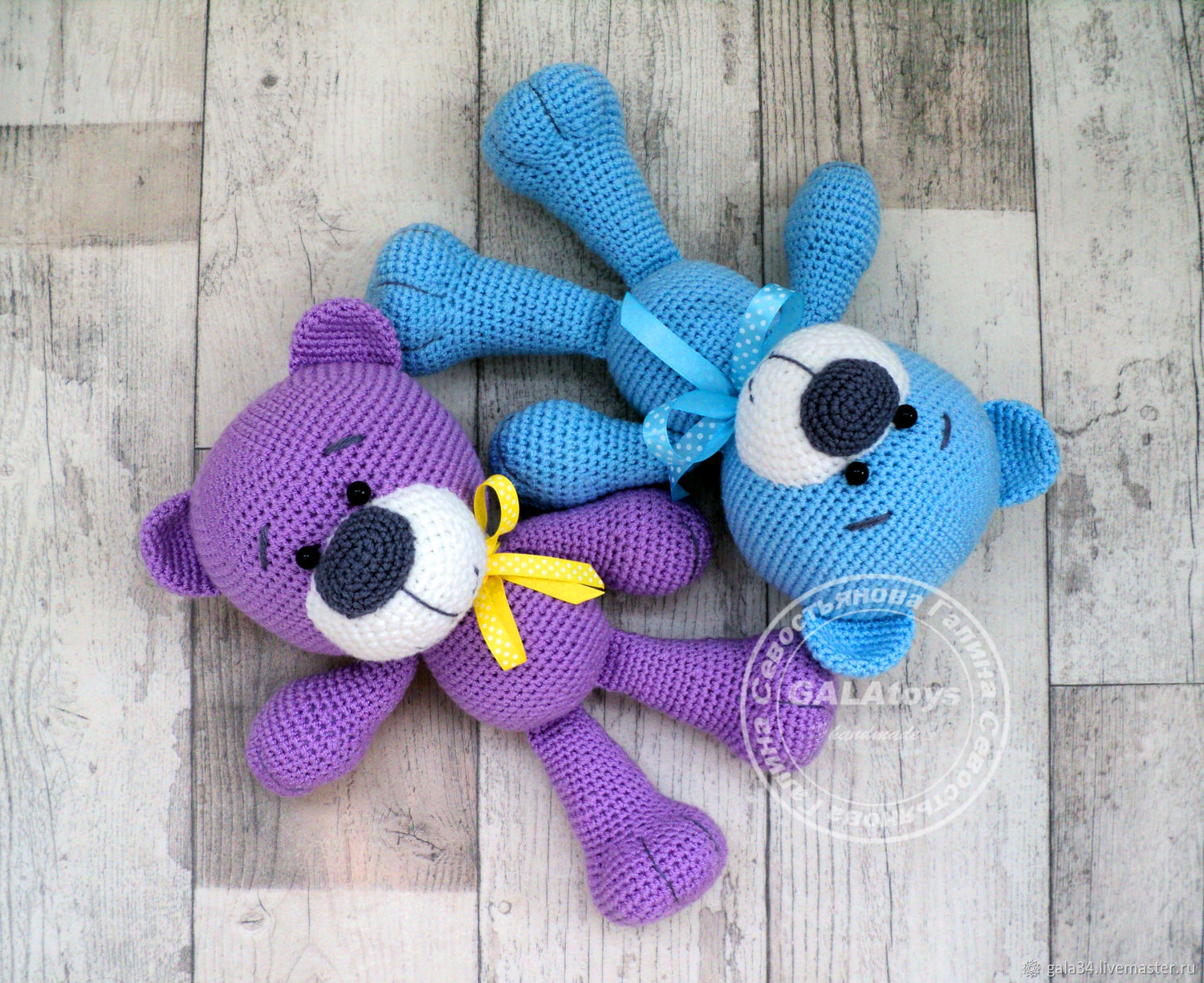 Knitted toy Bear. The colors are different, Stuffed Toys, Volgograd,  Фото №1