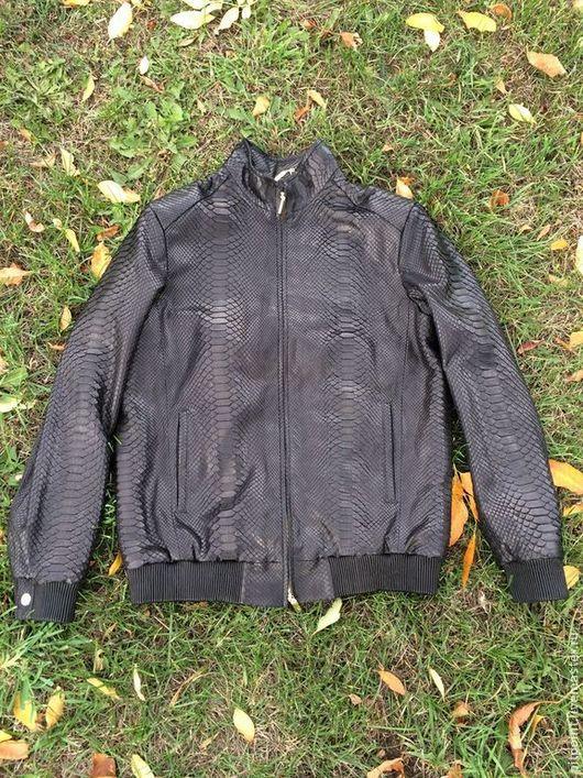 Верхняя одежда ручной работы. Ярмарка Мастеров - ручная работа. Купить Куртка из питона мужская. Handmade. Черный, питоновая куртка