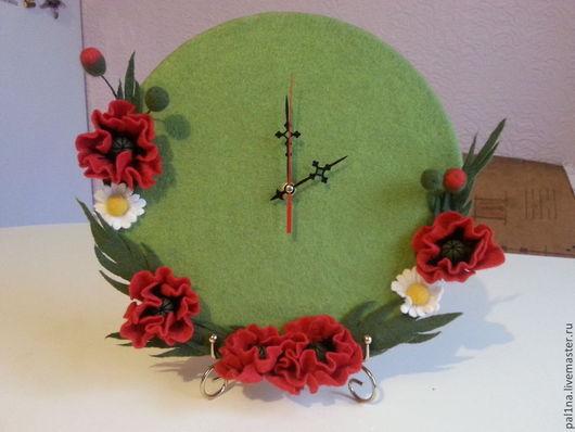 """Часы для дома ручной работы. Ярмарка Мастеров - ручная работа. Купить Часы """"Маки"""". Handmade. Ярко-зелёный, цветы, подарок"""