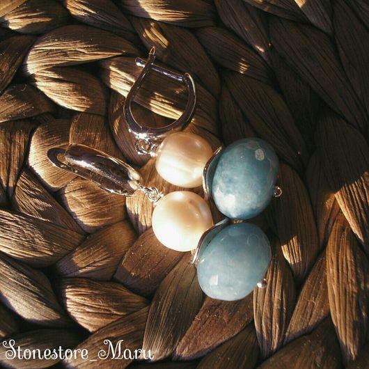 """Серьги ручной работы. Ярмарка Мастеров - ручная работа. Купить Серьги """"Из пены морской"""". Handmade. Голубой, сережки"""