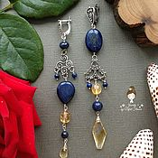 Украшения handmade. Livemaster - original item Asymmetric earrings lapis