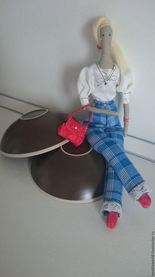 """Куклы Тильды ручной работы. Ярмарка Мастеров - ручная работа. Купить Тильда """"Деловая леди"""". Handmade. Синий, хлопок 100%"""