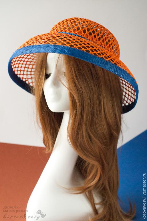 """Шляпы ручной работы. Ярмарка Мастеров - ручная работа. Купить """"Оранжевое небо"""". Handmade. Рыжий, шляпа с полями, синий цвет"""