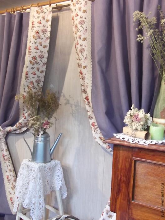 """Текстиль, ковры ручной работы. Ярмарка Мастеров - ручная работа. Купить Шторы льняные""""Лавандовый вечер"""". Handmade. Сиреневый, шторы для гостиной"""