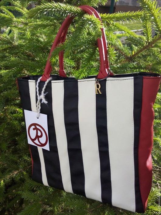 Женские сумки ручной работы. Ярмарка Мастеров - ручная работа. Купить стильная сумка пакет, с орнаментом. Handmade. Чёрно-белый
