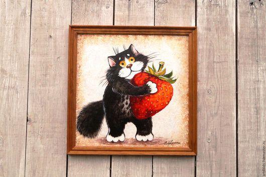 """Животные ручной работы. Ярмарка Мастеров - ручная работа. Купить Картина """"Кото-клубника"""". Handmade. Ярко-красный, картина для кухни"""