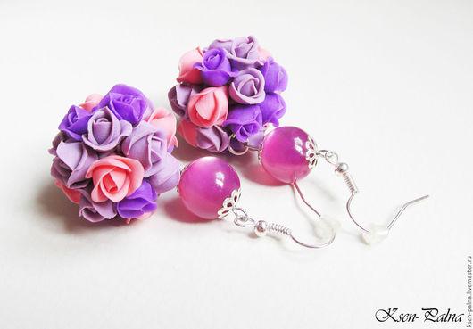 """Серьги ручной работы. Ярмарка Мастеров - ручная работа. Купить Серьги """"Розы"""". Handmade. Сиреневый, цветы, серьги шарики"""