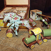 """Для дома и интерьера ручной работы. Ярмарка Мастеров - ручная работа Набор для детской """"Как раньше...2"""" (кубики+игрушки). Handmade."""