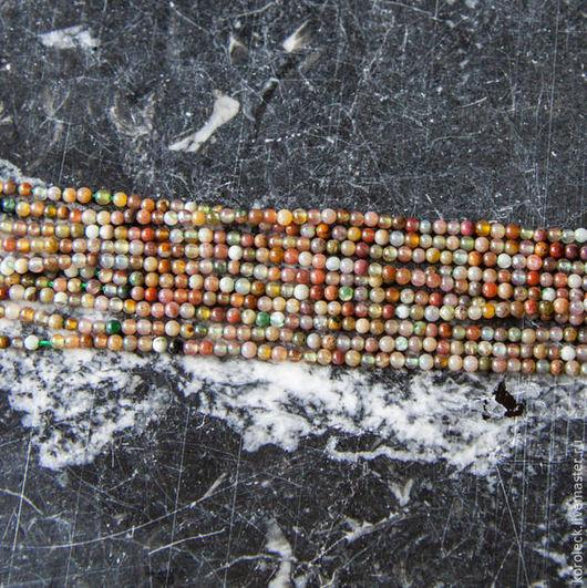 Для украшений ручной работы. Ярмарка Мастеров - ручная работа. Купить Нить микс камней коричневая, бусины 2 мм, длина нити 39 см. Handmade.