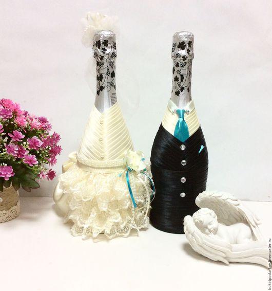 Свадебные аксессуары ручной работы. Ярмарка Мастеров - ручная работа. Купить Оформление свадебных бутылок ( Свадьба в бирюзе). Handmade.