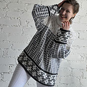 Одежда handmade. Livemaster - original item Large Knit Fisherman Sweater Oversized Soft Wool Loose Jumper. Handmade.