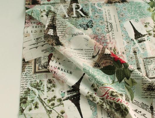 """Шитье ручной работы. Ярмарка Мастеров - ручная работа. Купить Ткань """"Коллаж. Про Париж"""" №2. Handmade. Ткань для творчества"""