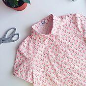 Одежда ручной работы. Ярмарка Мастеров - ручная работа Рубашка женская из хлопка с принтом фламинго. Handmade.