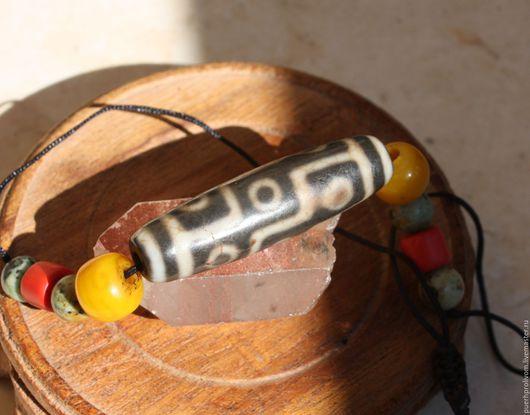 Колье, бусы ручной работы. Ярмарка Мастеров - ручная работа. Купить Древняя  бусинка дзи, 9глаз/ Тибет. Handmade. Разноцветный