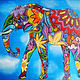 """Животные ручной работы. Ярмарка Мастеров - ручная работа. Купить Картина """"Индийский слон"""" (холст, масло, 24х30см). Handmade. Разноцветный"""